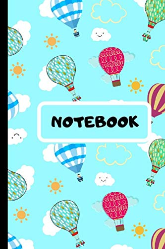 Price comparison product image Notebook: Cute Novelty Hot Air Balloons and Kawaii Clouds Notebook - Small Lined Notebook 6x 9