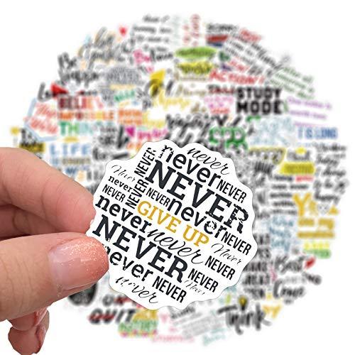 BLOUR 100 Uds Frases motivacionales Lema Pegatina Citas Frases DIY portátil Equipaje teléfono refrigerador monopatín Juguete calcomanía Pegatina