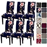 SearchI Dining Room Chair Covers Slipcovers Set of 6, Spandex Super Fit Stretch Removable Washable Kitchen Parsons Chair Covers Protector for Dining Room,Hotel,Ceremony, Navy+Flowers