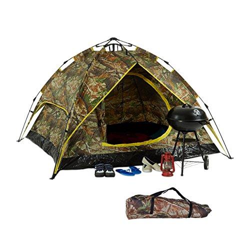 Relaxdays 10023322 Tenda da Campeggio, 2-3 Persone, Sistema Quick-Up, 2 Funzioni in 1, HxLxP:...