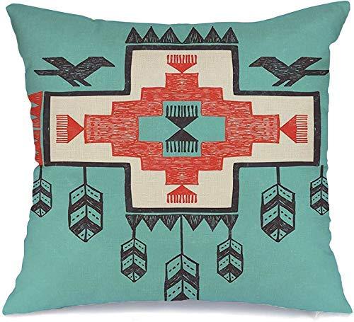 Decoración Throw Pillow Cover Funda de cojín Aztec Shaman Tribal Textured Vintage Abstract Feather Bird Arrow Border Dreamcatcher Hand Funda de Cojine 45 X 45CM