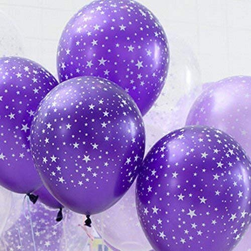 Neo LOONS 30ct Assorted Purple Light Purple Clear Around Star Balloons