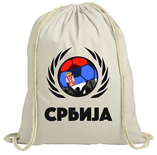 ShirtStreet Serbia Wappen Soccer Fussball WM Fanfest Gruppen Fan natur Turnbeutel Gym Bag Fußball...