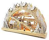Wichtelstube-Kollektion Echtholz LED Schwibbogen mit Timer Winterlandschaft im Erzgebirge Original Leuchter Schwippbogen Lichterbogen