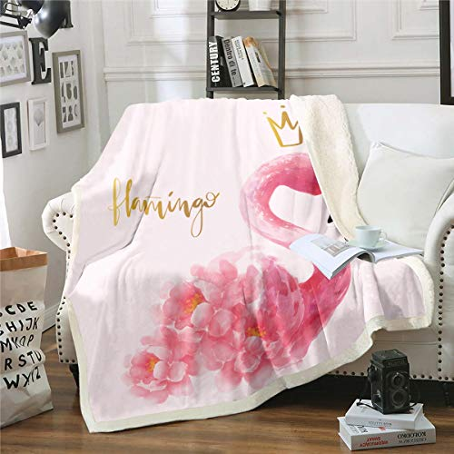 Flamingo Fleece Throw Blanket Tropical Animal Pattern Blanket Pink Floral Sherpa Blanket for Couch Sofa Chair Women Bedroom Decor Girly Flowers Fuzzy Blanket Twin 60'x80'