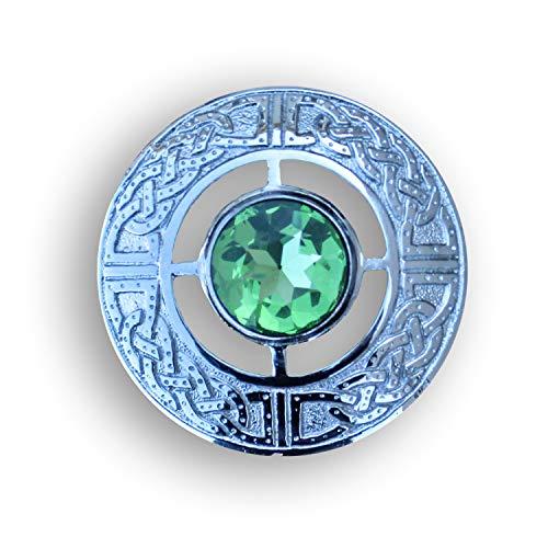 AAR Men's Scottish Celtic Kilt Fly Plaid Brooch 3' in Various Color Stones