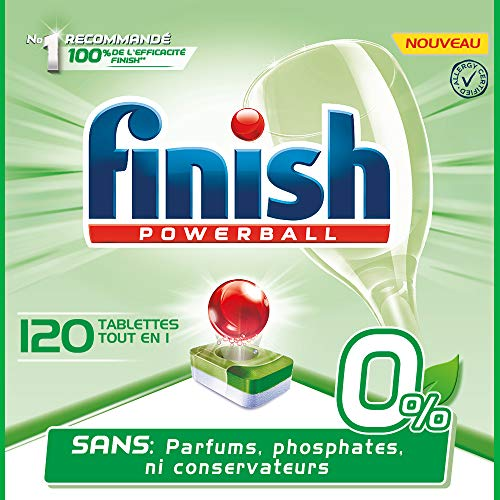 Finish Pastilles Lave-Vaisselle Powerball All in One 0% - 120 Tablettes Lave-Vaisselle