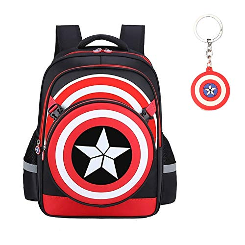 Waterproof Captain America 3D Bag Backpack Comic Super Hero Design backpacks bags For gift(black-L)