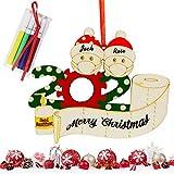 2020 Adorno de Navidad con nombre personalizado, colgante de manualidades de madera, decoración de árbol familiar de supervivientes de cuarentena, regalos creativos de Navidad, familia de 2