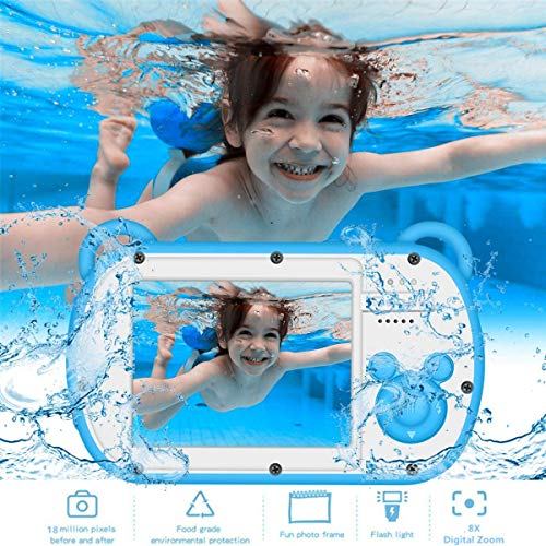 Christmas Birthday Gifts for Kids 3-10 Years Old, Toys for 5-8 Year Old Boys, 2020 Kids Camera Waterproof w/Games, Toy Camera for Toddlers, Zoom 8X Kids Digital Camera, Child Learning Camcorder, Blue