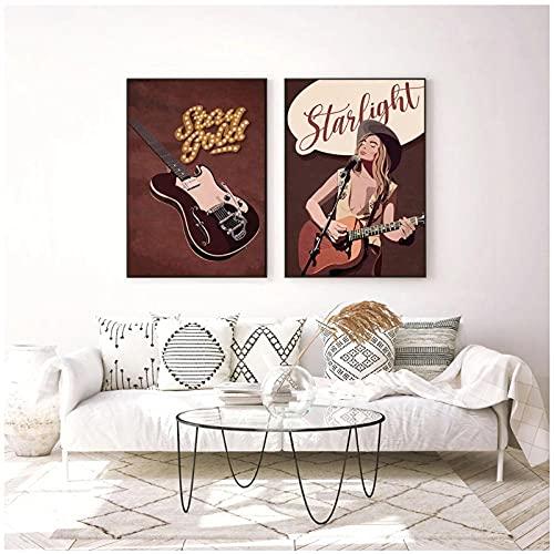 FUXUERUI Música country Rock Roll guitarra y vocalista cuadro de arte de pared lienzo pintura cartel impreso para decoración del hogar,40x60cmx2 sin marco