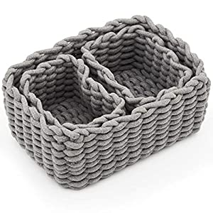 EZOWare Set of 3 Decorative Woven Cotton Rope Baskets and Storage Organizer, Perfect for Storing Small Household Items