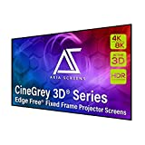Akia Screens 103 inch Edge Free Fixed Frame Projector Screen 16:9, Ceiling and Ambient Light Rejection screen, CineGrey 3D Projection Screen Material, for Indoor Movie Video Home Theater, AK-NB103DH3