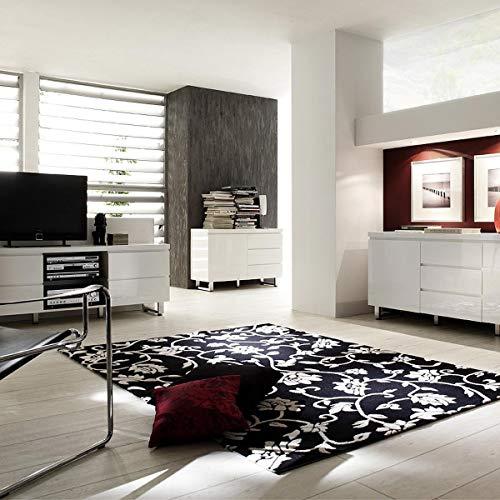 Robas Lund 48903W1 Sydney Sideboard, 1 Tür / 3 Schubkästen, Chromfüße, 111 x 74 x 42 cm, Hochglanz weiß - 4