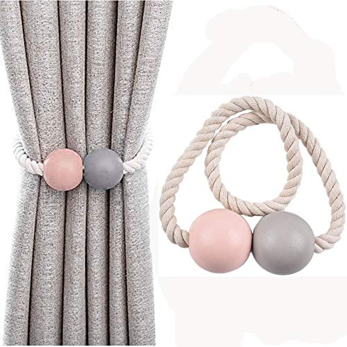 jiyuan 2 stück Magnetvorhang Vorhan Raffhalter, Magnetische Ball Seil Vorhangschnalle, Verwendet für Vorhänge, Kleidung, Heimtextilien, Kleidung