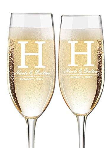 Custom Wedding Champagne Flutes - Set of 2 Toasting Flutes   Large Monogram Initial with Names and Wedding Date   Personalized Wedding Glasses for Bride and Groom   Customized Engraved Wedding Gift