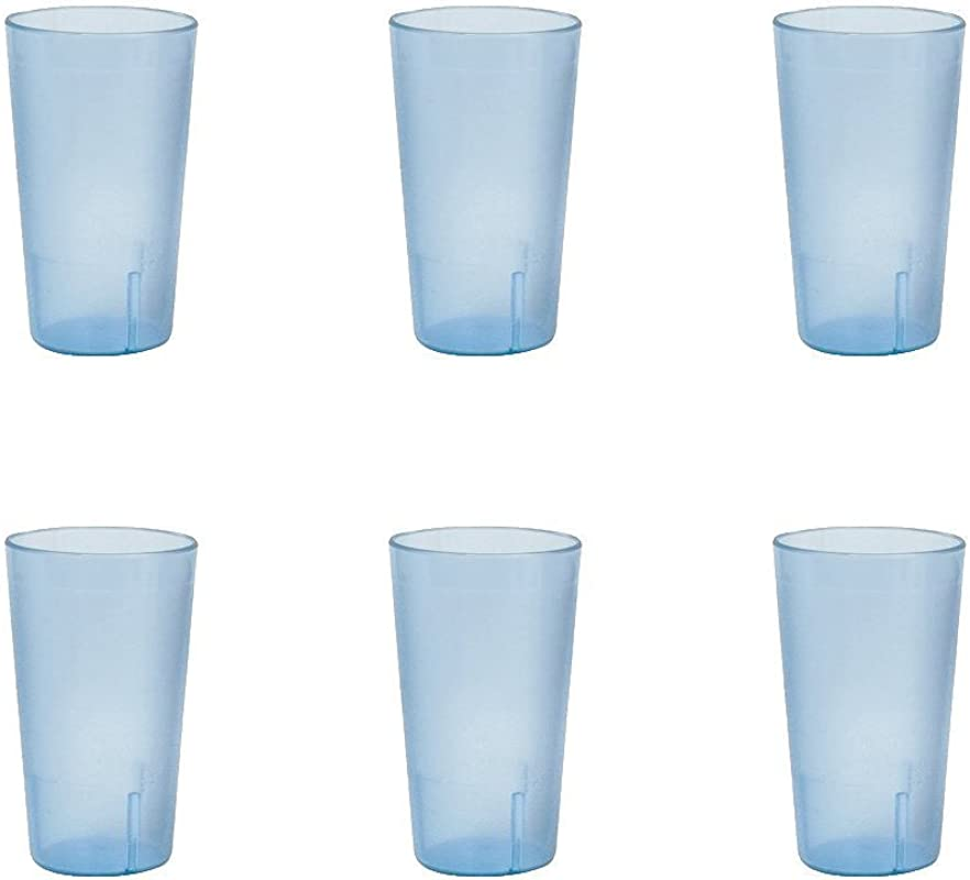 32 Oz Ounce Restaurant Tumbler Beverage Cup Stackable Cups Break Resistant Commmerical Plastic Set Of 6 Blue