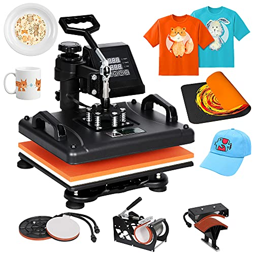 SUPER DEAL Heat Press Machine 12x15 Pro 6 in 1 Combo Swing-Away LED Display Digital Heat Transfer Printing Sublimation for T-shirts, Bags, Mug, Cap/Hat, Plates Multifunction Black