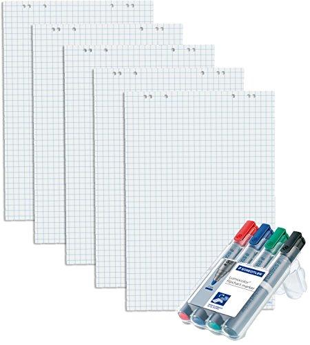 5x Flipchartblöcke, je Block 20 Blatt 69x99 cm, 6 fach Lochung, perforiert [ kariert ] + 4er Marker