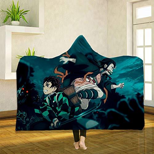 Manta de chorro de capó de impresión 3D de matar de demonios de anime, mantas de peluche de viaje, sólidas, cálidas y esponjosas para sofá, color B_130 x 150 cm