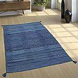 Paco Home Alfombra Diseño Kilim Tejida A Mano 100% Algodón Moderna Estampada Azul, tamaño:80x150 cm