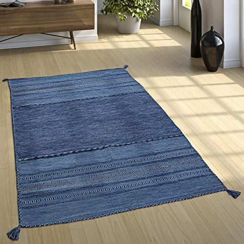 Paco Home Designer Teppich Webteppich Kelim Handgewebt 100% Baumwolle Modern Gemustert Blau, Grösse:80x150 cm