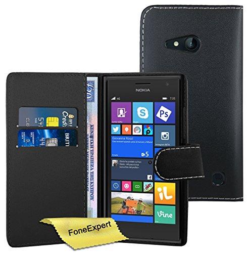 FoneExpert® Nokia Lumia 730 735 Hülle, Hülle Wallet Hülle Cover Hüllen Etui Ledertasche Premium Lederhülle Schutzhülle für Nokia Lumia 730 735 + Bildschirmschutzfolie (Wallet Schwarz)