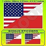 USA Vereinigte Staaten von Amerika und POLEN, Amerikanisch und Polnische Flagge, Fahne 100mm Auto & Motorrad Aufkleber, Vinyl Sticker x1+2 BONUS