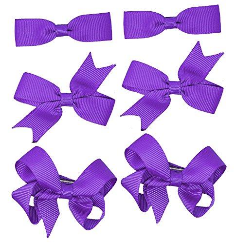 6 barrettes à nœuds pour les cheveux (3 paires) - Accessoires pour uniforme scolaire - Pour fille - Gros-grain
