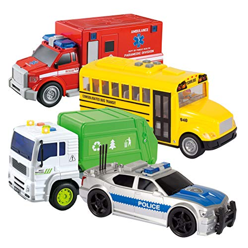 JOYIN 4 PC Friction Powered City Play Vehicle Toy Set Including Police Car, School Bus, Garbage Truck, Ambulance, Vehicle Toy with Lights and Sound Siren