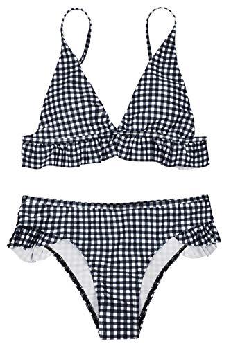 heekpek Bikini a Cuadros Top Triángulo Relleno Braga con Volantes para Mujer