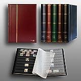 Prophila Leuchtturm 60 schwarze Seiten Briefmarkenalbum Einsteckbuch gepolstert Bordeaux Einband -