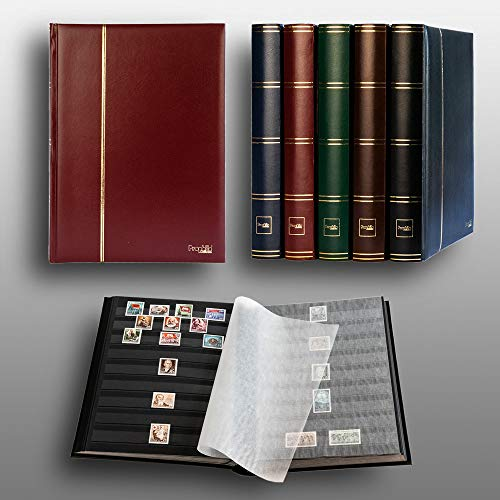 Prophila Lighthouse Stamp Album Stockbook 60 Black Sides, Leatherette Padded Red Cover