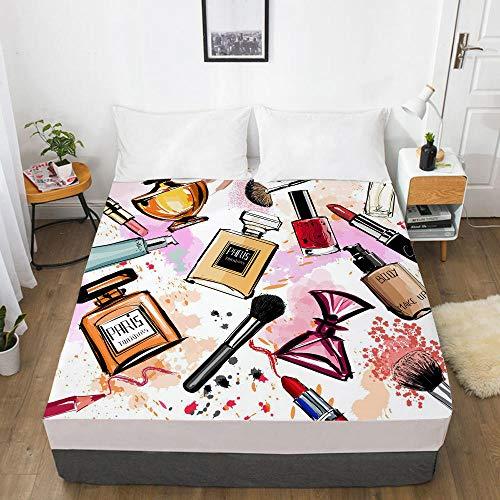 lhmlyl Double Mattress Protector 3D Creative Digital Printing Bed Sheet, Mattress Cover, Cosmetics-Fashion 010-White-F_137X190X40Cm