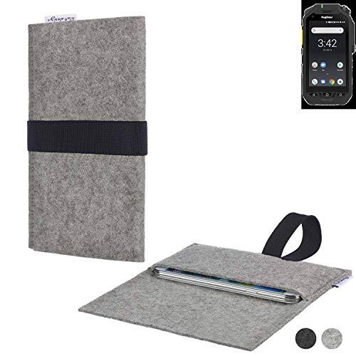 flat.design Handy Hülle Aveiro für Ruggear RG725 passgenau Handytasche Filz Tasche Etui Case fair schwarz hellgrau