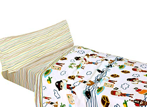 Montse Interiors – Set Lenzuola Singole per Bambini con Federa per Cuscino, Letto da 90cm | Set Lenzuola 50% Cotone, Design Caraibi