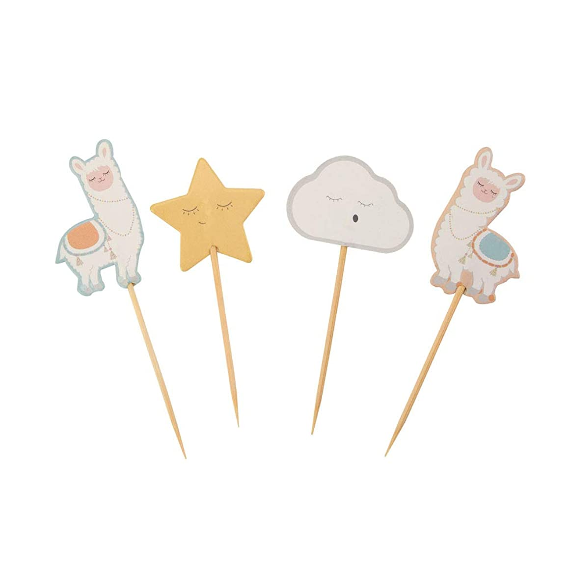 Neviti 776339 Llama Love-Cupcake Picks-20 Pack Cake Picks, Pastel Multi, 7 x 2.5 x 6.5
