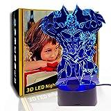 JINYI Action 3D Night Light Homme fort, lampe à illusion LED, cadeau familial, E - Base de Réveil (7 couleurs), Lampe de table, Haute qualité, Artisanat