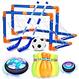 AoHu Kids Toys Hover Soccer Ball Set, Hover Hockey Set with Bowling Toys, Rechargeable Air Soccer with LED Starlight, Outdoor Indoor Sports Games Toys Gifts for Boys Girls Ages 3 4 5 6 7 8-12