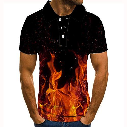 Herren 3D Poloshirt,3D Druck Brennenflamme Kurzarm Bowling Shirts Männlich Cool Quick Dry Sweat Outdoor Sport Tops Mode Kleidung Für Männer Geschenk Für Ihn, M