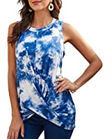 Women Tie-Dye T-Shirts Casual Tops - Cute Tank Top Knot Front Tops Summer T-Shirts Sleeveless Tunic Tops