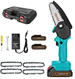 Mini Chainsaw Set, Handheld Cordless Electric Protable Chainsaw, 24V Electric Chainsaw with Brushless Motor,Pruning Shears Chainsaw for Courtyard Tree Branch Wood Cutting (US Plug) (Green)