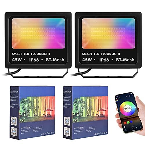 Kacsoo 2*45 W Illuminazione Proiettore LED 2000LM Faretto LED da Esterno IP66 impermeabile faretto che cambia colore RGB 2700K-6500K luce di inondazione RGB per Natale Halloween Festa Giardino (45)