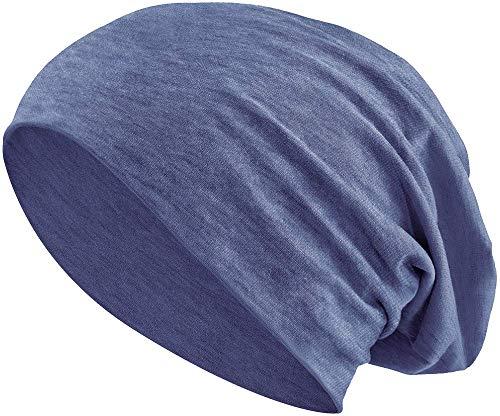 Jersey Baumwolle elastisches Long Slouch Beanie Unisex Mütze Heather in 35 (3) (Heather Grey-Blue)