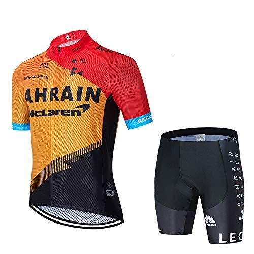Tenue Cycliste VTT Homme Été Manches Courtes Maillot Cyclisme et Cuissard Court Vélo avec 3D Gel Coussin Respirant Vetement Velo Homme
