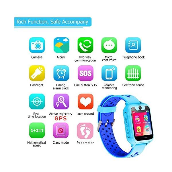 PTHTECHUS Telefono Reloj Inteligente LBS Niños - Smartwatch con Localizador LBS Juegos Despertador Camara Linterna per… 7