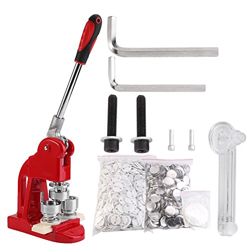 Button Maker, 1/1.25/2.3 inch 2.5/3.2/5.8cm Badge Punch Press Maker with 1000 Circle Button Parts for DIY … (1 inch 2.5cm)