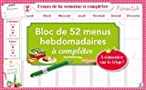 BLOC DE MENUS A COMPLETER MEMONIAK 2015