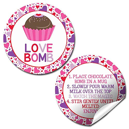 Love Bomb Heart Themed Hot Cocoa Bomb Sticker Labels for Valentine's Day, Total of 40 2' Circle Stickers (20 sets of 2) by AmandaCreation