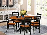 East West Furniture modern dining table set 6 Great wood chairs - A Wonderful wood dining table- cherry Color Wooden Seat cherry and black Butterfly Leaf round dining table